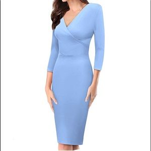 Light blue long sleeve v neck to pencil dress